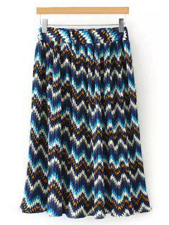 Elastic Waist Printed Pleated Midi Skirt - Light Blue