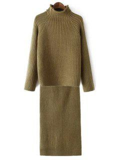 Half-Collar Jumper And Pencil Knit Skirt Twinset - Army Green