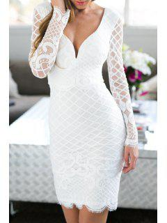 Lace Plunging Neck Long Sleeve Bodycon Dress - White M