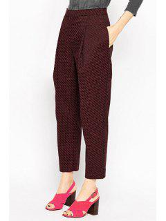 Jacquard Wine Red Cropped Pants - Wine Red Xs