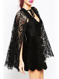 Deep V Neck Sleeveless Bodysuit + Crochet Flower Cape Twinset - Black 2xl