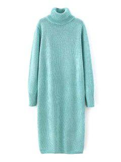 Solid Color Long Sleeve Turtle Neck Sweater Dress - Light Blue L