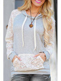 Cutout Front Pocket Pullover Hoodie - White L