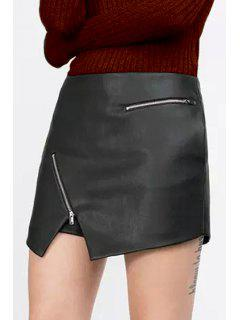 Solid Color Zipper Embellished PU Leather Shorts - Black M