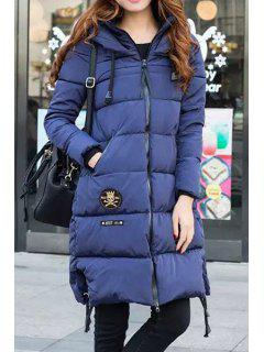 Solid Color Drawstring Hooded Pockets Padded Coat - Blue S
