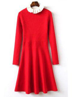Ruffle Collar Fit And Flare Sweater Dress - Red