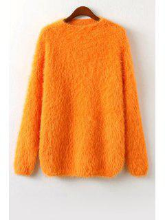 Round Neck Long Sleeve Fuzzy Sweater - Yellow