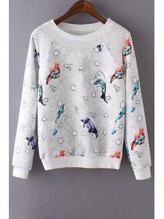 Bird Print Mesh Design Sweatshirt - White L