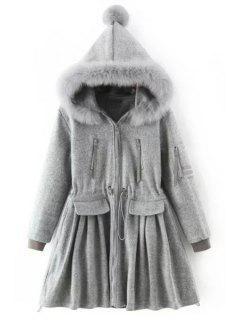 Gray Faux Fur Hooded Long Sleeve Coat - Gray S