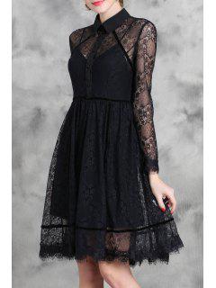 Black Turn Down Collar Long Sleeve Lace Dress - Black M