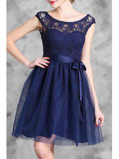 Lace Spliced Sleeveless Flare Dress - Purplish Blue 2xl