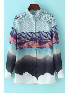 Long Sleeve Printed Crochet Flower Shirt - White M
