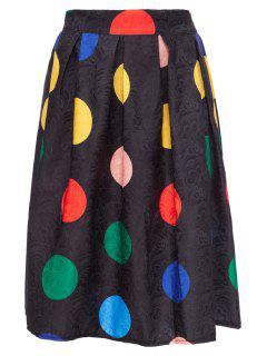 Colorful Polka Dot Midi Skirt - Black L