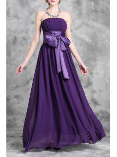Strapless Bowknot Maxi Dress - Purple 2xl