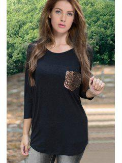 Sequins Spliced 3/4 Sleeve T-Shirt - Black Xl