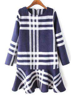 Plaid Ruffles Round Collar Thicken Dress - Blue S