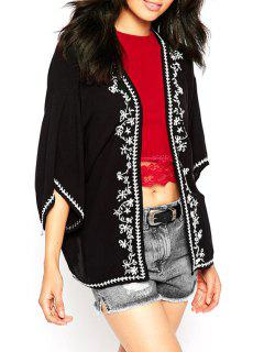 Retro Embroidery Batwing Sleeve Cape Blouse - Black L
