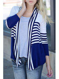 Open Front Long Sleeve Striped Thin Coat - Blue S