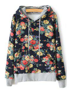 Full Flower Print Long Sleeves Pullover Hoodie - Black M