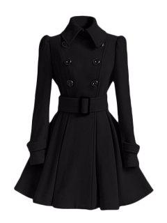 Solid Color Belted Turn-Down Collar Wool Dress Coat - Black Xl