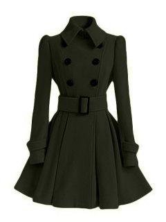 Solid Color Belted Turn-Down Collar Wool Dress Coat - Army Green Xl