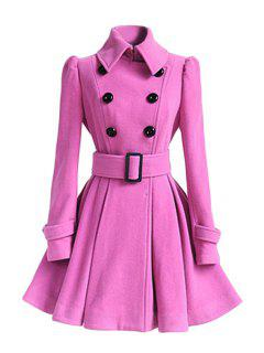 Solid Color Belted Turn-Down Collar Wool Dress Coat - Pink Xl