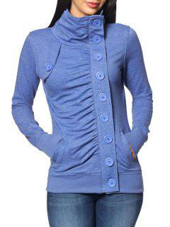 Solid Color Single-Breasted Turtle Neck Sweatshirt - Azure M