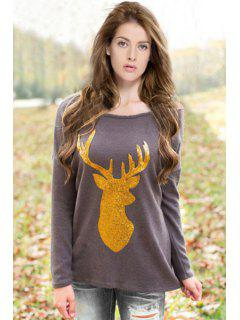 Long Sleeve Glitter Elk Christmas T-Shirt - Deep Gray S