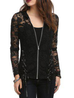 Lace Hooded Long Sleeve Coat - Black M