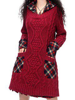 Robe Pull En Maille Torsadée Vintage à Capuche  - Rouge