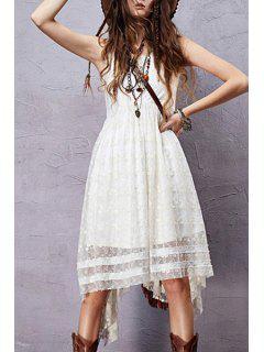 Sleeveless Embroidered Irregular Hem Dress - White L