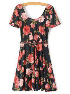 Full Floral Short Sleeve A Line Dress - Black S