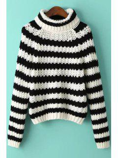 Striped Turtle Neck Long Sleeve Pullover Sweater - White And Black