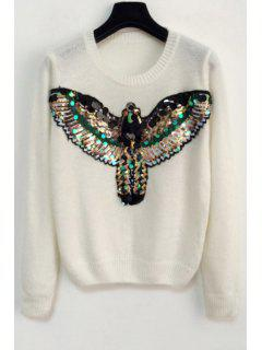 Sequins Eagle Sweater - White