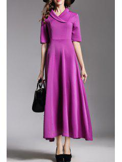 Solid Color Turn-Down Collar A Line Dress - Purple M