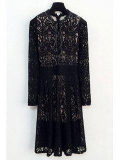 Crochet Flower Black Lace Dress - Black M
