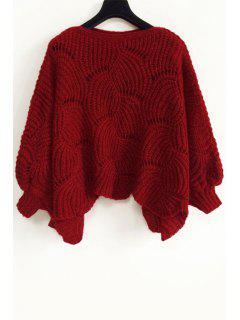 Pure Color Round Neck Long Sleeve Loose Jumper - Wine Red
