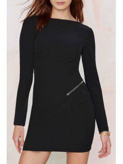 Hollow Back Zip Design Sheath Dress - Black M