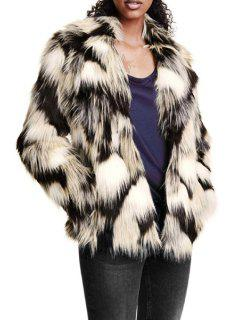 Faux Fur Long Sleeve Color Block Coat - Xl