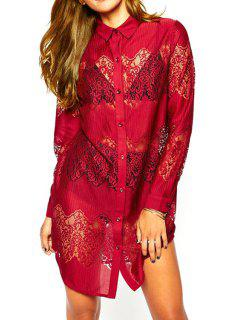 Long Sleeve Lace Patchwork Shirt Dress - Red M