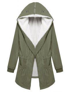 Big Pockets Fleece Lining Hooded Coat - Green Xl
