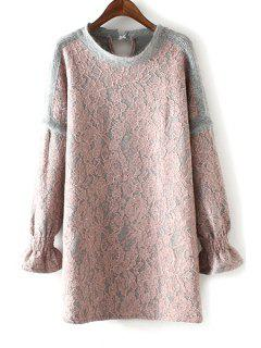 Ruffle Sleeve Lace Patchwork Sweater Dress - Pink