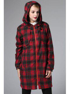 Checked Hooded Long Sleeve Drawstring Coat - Red L