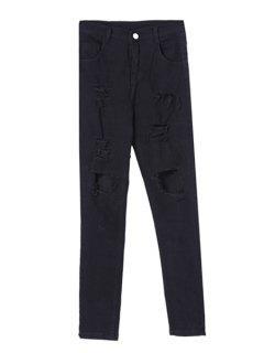 Ripped Black Pencil Pants - Black L