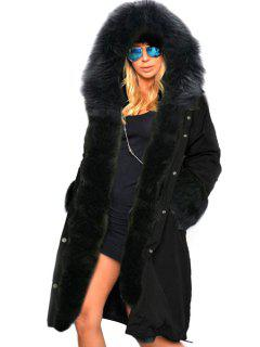 Hooded Faux Fur Trim Parka Coat - Black L