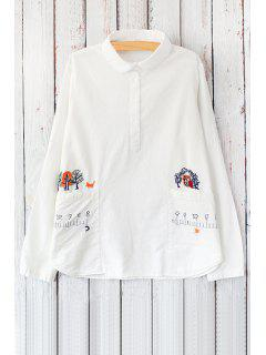 Cartoon Print Shirt Collar Long Sleeve Shirt - White