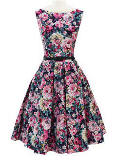 Full Floral Fit And Flare Dress With Belt - Blue 2xl