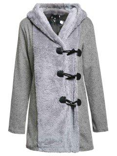 Hooded Horn Button Flocking Coat - Gray L