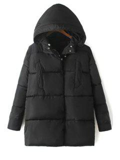 Solid Color Hooded Long Sleeve Padded Coat - Black L