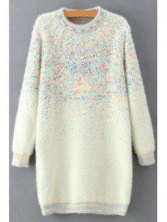 Beaded Round Collar Long Sleeve Sweater Dress - White